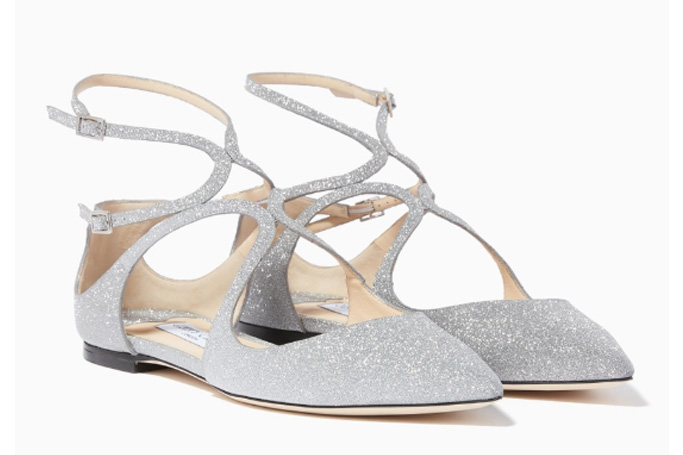 Jimmy Choo - Silver Glitter Leather Lancer Flats